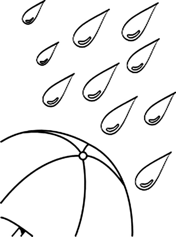 Raindrop, : Umbrella Under a Lot of Raindrop Coloring Page