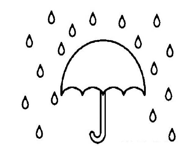 Raindrop, : Umbrella to Cover from Raindrop Coloring Page