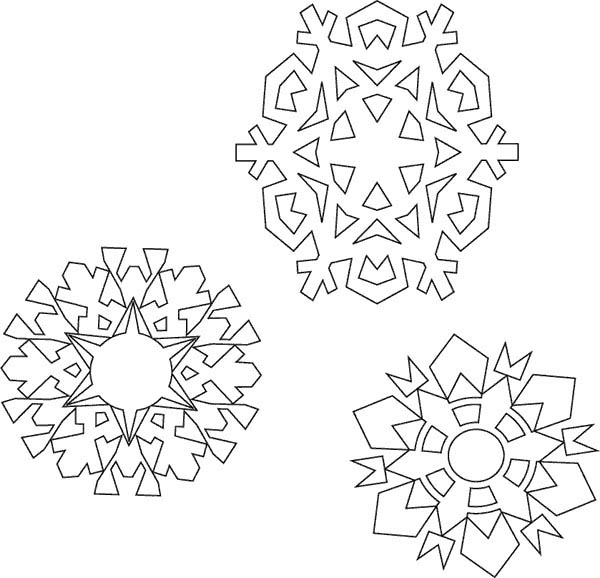 Snowflakes, : Various Type of Snowflakes Coloring Page