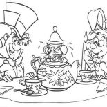 Mad Hatter, White Rabbit And Mad Hatter And Teapot Fill With Mouse Coloring Page: White Rabbit and Mad Hatter and Teapot Fill with Mouse Coloring Page