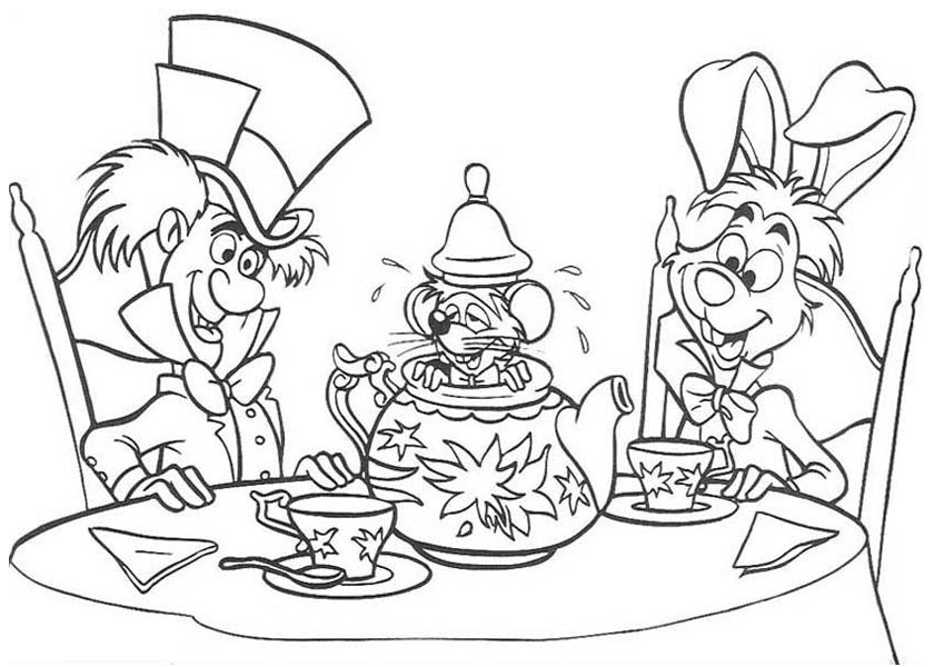 Mad Hatter, : White Rabbit and Mad Hatter and Teapot Fill with Mouse Coloring Page