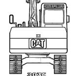 Digger, 307C Excavator Digger Coloring Page: 307C Excavator Digger Coloring Page