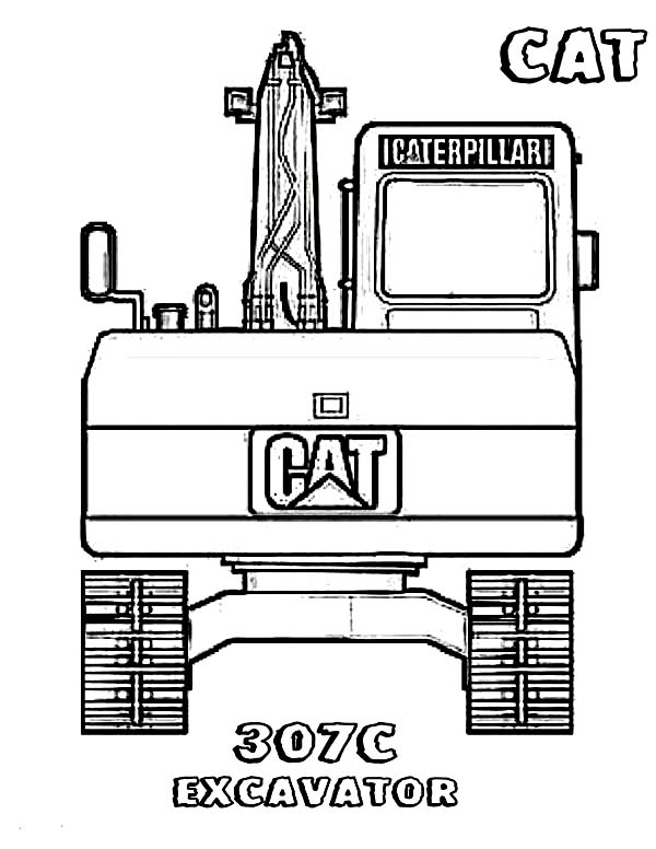 Digger, : 307C Excavator Digger Coloring Page