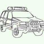 Police Car, 4WD Police Car Coloring Page: 4WD Police Car Coloring Page