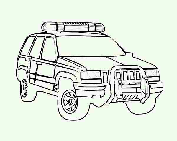 Police Car, : 4WD Police Car Coloring Page