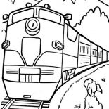 Trains, A Dog Looking At The Train Coloring Page: A Dog Looking at the Train Coloring Page