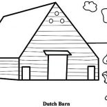 Barn, A Farmer And Dutch Barn Coloring Page: A Farmer and Dutch Barn Coloring Page