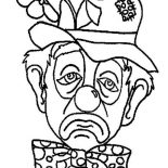 Clown, A Frowning Clown Coloring Page: A Frowning Clown Coloring Page