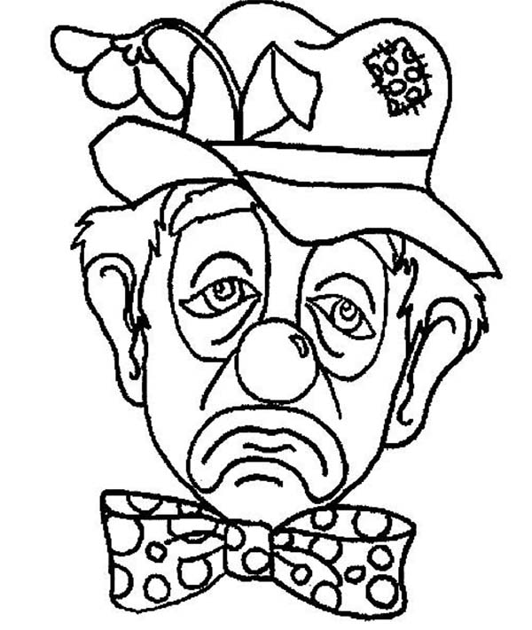 Clown, : A Frowning Clown Coloring Page