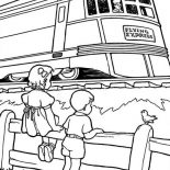 Trains, A Girl And A Boy Looking At Train Passing By Coloring Page: A Girl and a Boy Looking at Train Passing By Coloring Page