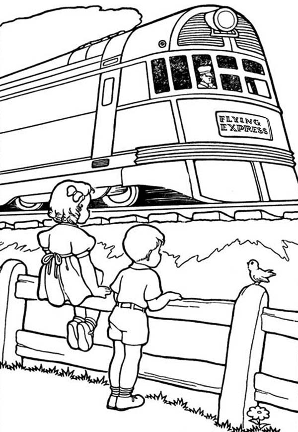 Trains, : A Girl and a Boy Looking at Train Passing By Coloring Page