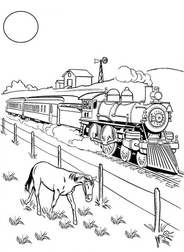 Railroad, : A Horse Eating Beside Railroad Coloring Page