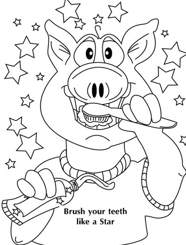 Dental Health, : A Pig Brushing His Teeth in Dental Health Coloring Page