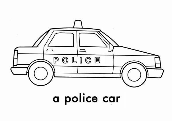 Police Car, : A Police Car Picture Coloring Page