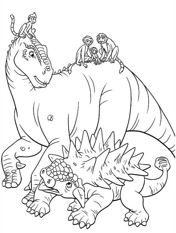 Lemur, : Aladar and Lemur with Friends Dinosaur Coloring Page