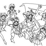 Sailor Moon, All Character Of Sailor Moon Coloring Page: All Character of Sailor Moon Coloring Page
