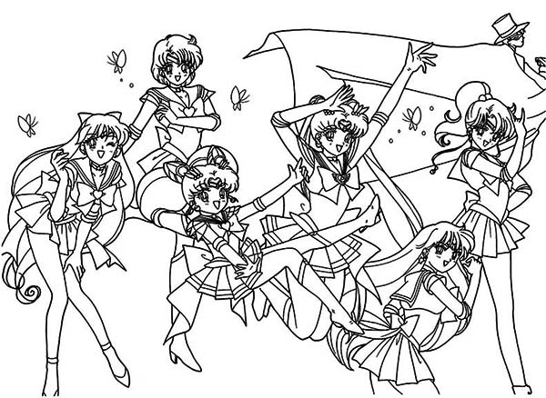 Sailor Moon, : All Character of Sailor Moon Coloring Page