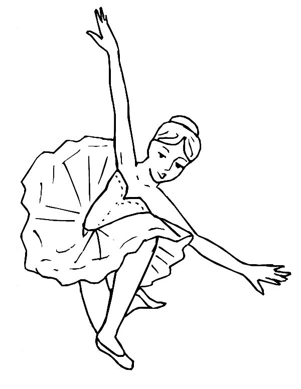 Ballerina, : Amazing Ballerina Performance Coloring Page