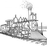 Railroad, Amazing Steam Train On Railroad Coloring Page: Amazing Steam Train on Railroad Coloring Page