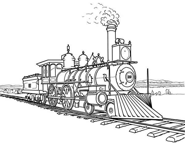 Railroad, Amazing Steam Train on Railroad Coloring Page: Amazing Steam Train On Railroad Coloring PageFull Size Image