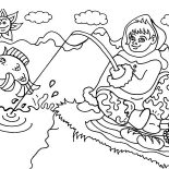 Eskimo, An Eskimo Girl From Alaska Going Fishing Coloring Page: An Eskimo Girl from Alaska Going Fishing Coloring Page
