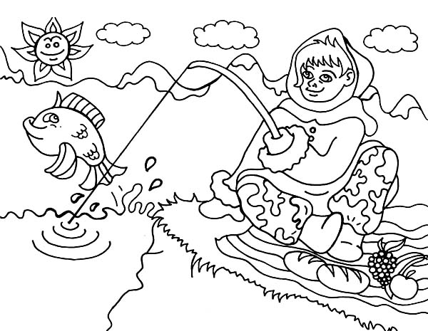 Eskimo, : An Eskimo Girl from Alaska Going Fishing Coloring Page