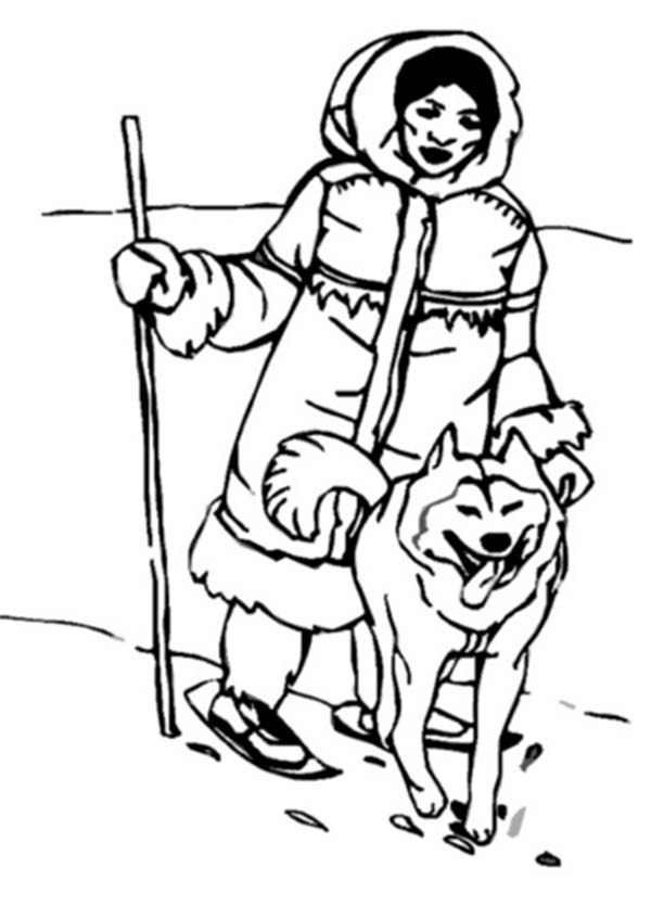 Eskimo, : An Eskimo Hunting with Husky Coloring Page