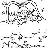 Angels, Angels Boy Looking At The Village From Sky Coloring Page: Angels Boy Looking at the Village from Sky Coloring Page