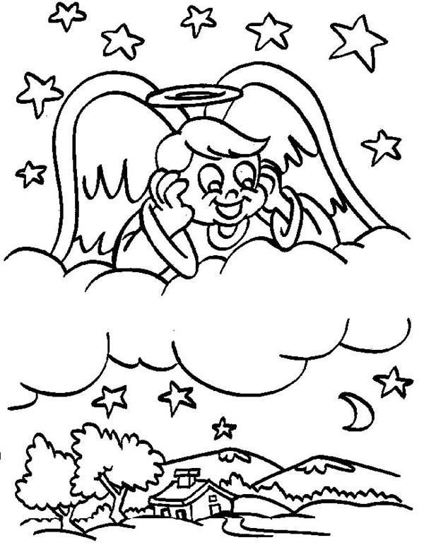Angels, : Angels Boy Looking at the Village from Sky Coloring Page