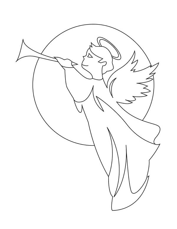 Angels, : Angels Gabriel with Trumpet Coloring Page