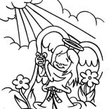 Angels, Angels Praise To The God Lord Coloring Page: Angels Praise to the God Lord Coloring Page