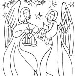 Angels, Angels Singing With Harp Coloring Page: Angels Singing with Harp Coloring Page