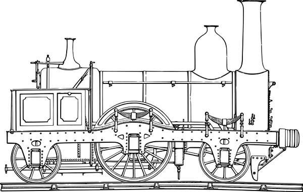 Trains, : Antique Locomotive Train Coloring Page