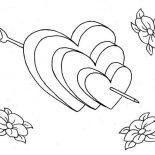 Hearts & Roses, Arrow In Hearts And Roses Coloring Page: Arrow in Hearts and Roses Coloring Page