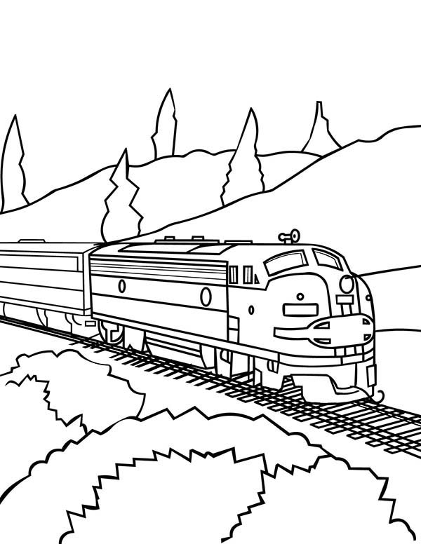 Trains, : Awesome Model Train Coloring Page