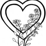 Hearts & Roses, Awesome Picture Of Hearts And Roses Coloring Page: Awesome Picture of Hearts and Roses Coloring Page