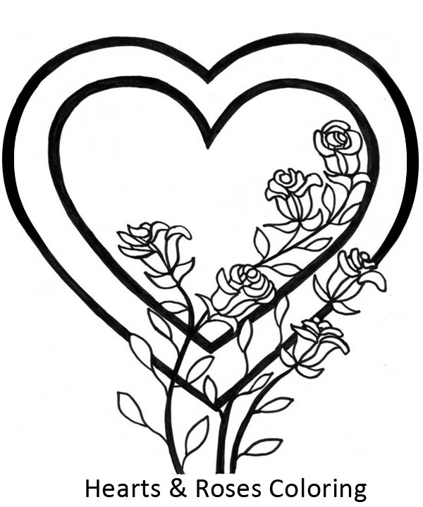 Hearts & Roses, : Awesome Picture of Hearts and Roses Coloring Page