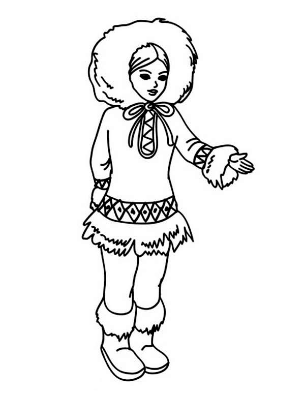 Eskimo, : Awesome Picture of an Eskimo Coloring Page