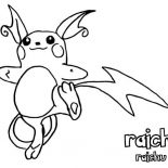 Raichu, Awesome Pokemon Raichu Coloring Page: Awesome Pokemon Raichu Coloring Page