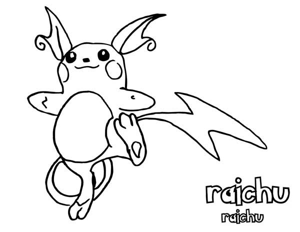 Raichu, : Awesome Pokemon Raichu Coloring Page