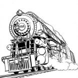 Railroad, Awesome Steam Train On Railroad Coloring Page: Awesome Steam Train on Railroad Coloring Page
