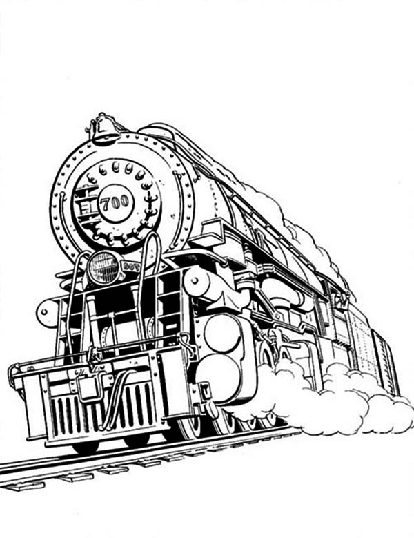 Railroad, : Awesome Steam Train on Railroad Coloring Page