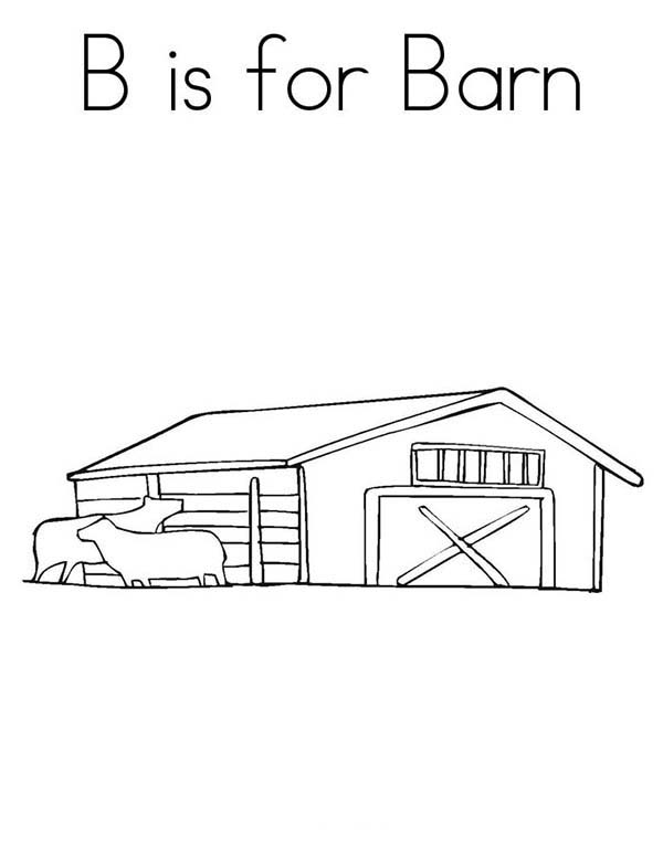 Barn, : B is for Barn Coloring Page