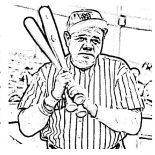 MLB, Babe Ruth, The Baseball Legend In MLB Coloring Page: Babe Ruth, the Baseball Legend in MLB Coloring Page