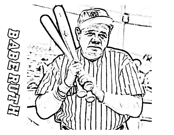 MLB, : Babe Ruth, the Baseball Legend in MLB Coloring Page
