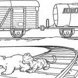 Railroad, Baby Bear And Baby Tiger On Railroad Coloring Page: Baby Bear and Baby Tiger on Railroad Coloring Page