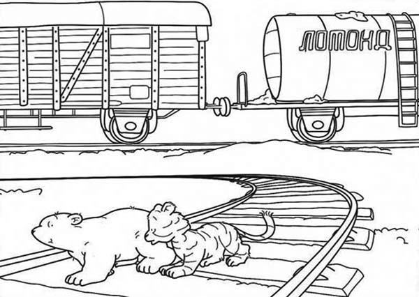 Railroad, : Baby Bear and Baby Tiger on Railroad Coloring Page
