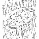 Moses, Baby Moses Safely Hidden From Pharaoh Army Coloring Page: Baby Moses Safely Hidden from Pharaoh Army Coloring Page