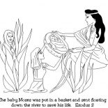 Moses, Baby Moses Was Found After Floating Down On Nile River Coloring Page: Baby Moses was Found After Floating Down on Nile River Coloring Page