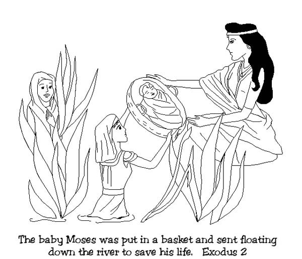 Moses, : Baby Moses was Found After Floating Down on Nile River Coloring Page